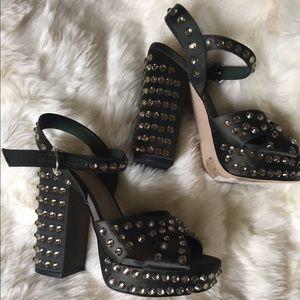 Satin platform heel with rhinestones
